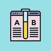 A/B Testing. Digital marketing concept illustration, flat design linear style banner.