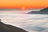 Sunrise over mountains clouds aerial view  landscape in Norway Travel tranquil idyllic scenery