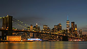 landscape of lower manhattan at night