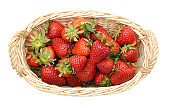 Basket of strawberries on white background
