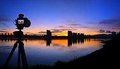 Digital SLR camera shot morning glow cityscape