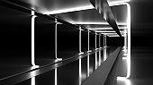 Futuristic Dark Tunnel with Lights