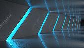 Futuristic Dark Tunnel with Neon Lights