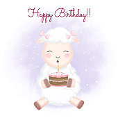 Cute Baby Sheep and cake hand drawn cartoon animal illustration