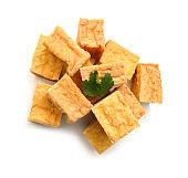 fried tofu on a white background
