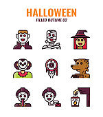 Filled outline icon set of halloween. icons set2