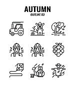 Outline icon set of autumn season concept. icons set3
