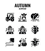 Glyph icon set of autumn season concept. icons set3