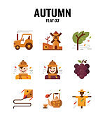 Flat icon set of autumn season concept. icons set3