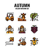 Filled outline icon set of autumn season concept. icons set3