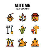 Filled outline icon set of autumn season concept. icons set2