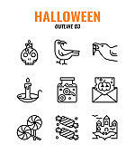 Outline icon set of halloween. icons set3