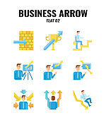 Flat icon set of business and arrows concept. icons set2