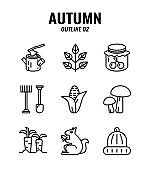Outline icon set of autumn season concept. icons set2