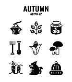Glyph icon set of autumn season concept. icons set2