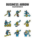 Filled outline icon set of business and arrows concept. icons set4