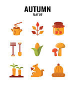 Flat icon set of autumn season concept. icons set2