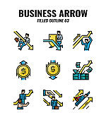 Filled outline icon set of business and arrows concept. icons set3