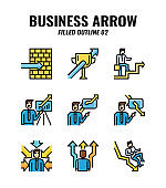 Filled outline icon set of business and arrows concept. icons set2