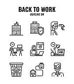Outline icon set of back to work and social distancing concept. icons set4