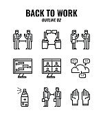 Outline icon set of back to work and social distancing concept. icons set2