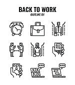 Outline icon set of back to work and social distancing concept. icons set1