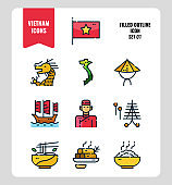 Vietnam icon set 1. Include flag, landmark, people, food and more. Filled Outline icons Design. vector illustration