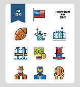 American icon set 1. Include USA flag, rugby ball, freedom monument and more. Filled outline icons Design. vector