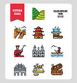 Vietnam icon set 2. Include landmark, people, food, culture and more. Filled Outline icons Design. vector illustration