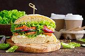 Sandwiches with homemade ciabatta bread, salted salmon fish, feta cheese, cucumber, onion and fresh lettuce salad, italian cuisine