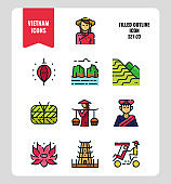 Vietnam icon set 3. Include landmark, people, food, culture and more. Filled Outline icons Design. vector illustration
