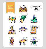 Egypt icon set 2. Include Pyramid, Anubis, god, mummy, camel and more. Filled outline icons Design. vector