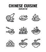 Outline icon set of Chinese traditional food and cuisine. icons set2