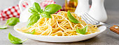 Pasta. Traditional italian food. Vermicelli with fresh basil. Banner