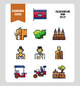 Cambodia icon set 1. Include flag, landmark, people, culture and more. Filled Outline icons Design. vector illustration