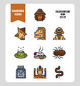 Cambodia icon set 2. Include landmark, art, food, culture and more. Filled Outline icons Design. vector illustration