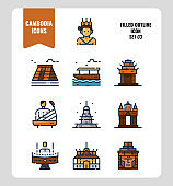Cambodia icon set 3. Include landmark, music, people, culture and more. Filled Outline icons Design. vector illustration