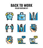 Filled outline icon set of back to work and social distancing concept. icons set1