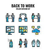 Filled outline icon set of back to work and social distancing concept. icons set2