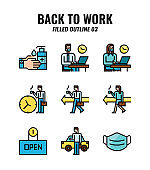 Filled outline icon set of back to work and social distancing concept. icons set3
