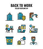 Filled outline icon set of back to work and social distancing concept. icons set4