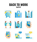 Flat icon set of back to work and social distancing concept. icons set1