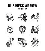 Outline icon set of business and arrows concept. icons set3