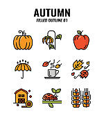 Filled outline icon set of autumn season concept. icons set1