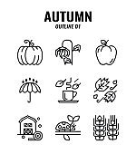 Outline icon set of autumn season concept. icons set1