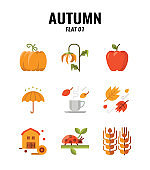 Flat icon set of autumn season concept. icons set1