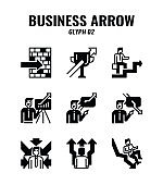 Outline icon set of business and arrows concept. icons set2