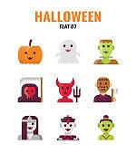 Flat icon set of halloween. icons set1