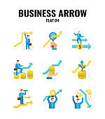 Flat icon set of business and arrows concept. icons set4