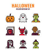 Filled outline icon set of halloween. icons set1